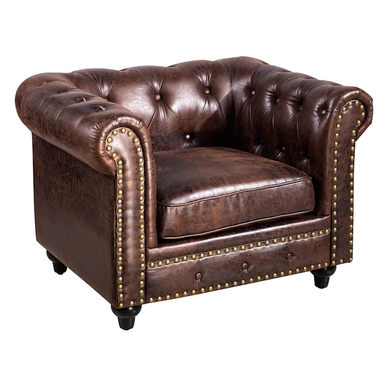 Chesterfield Tufted Brown Faux Leather Rolled Arm Chair
