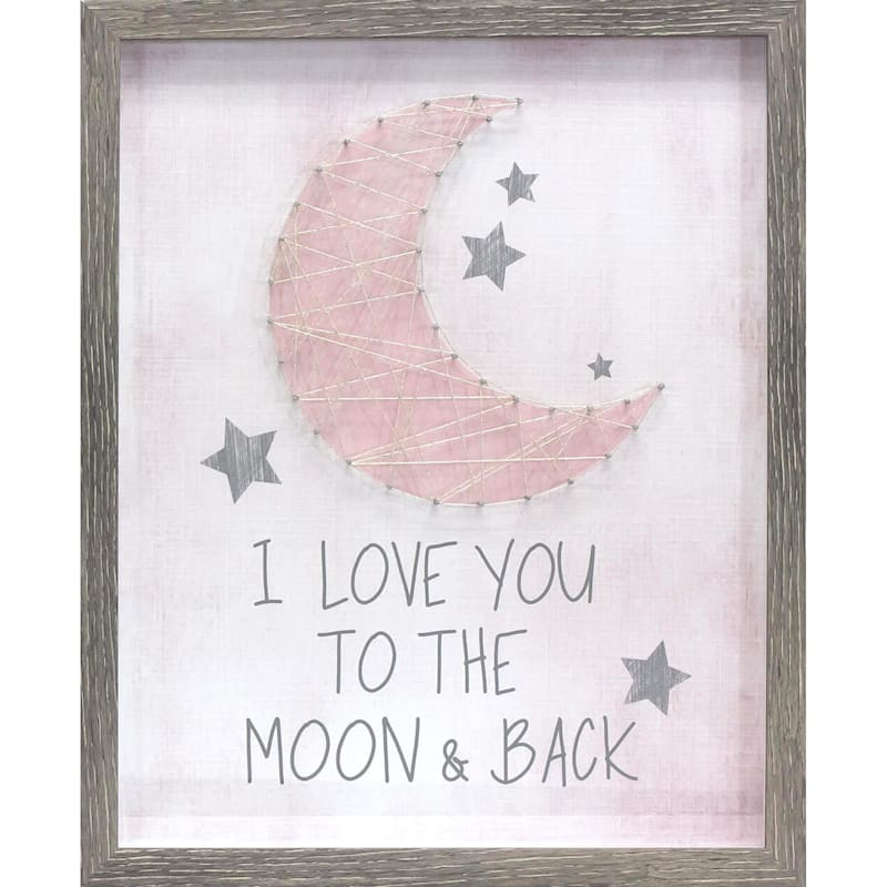 16X20 I Love You To The Moon And Back String Art Framed/Glass