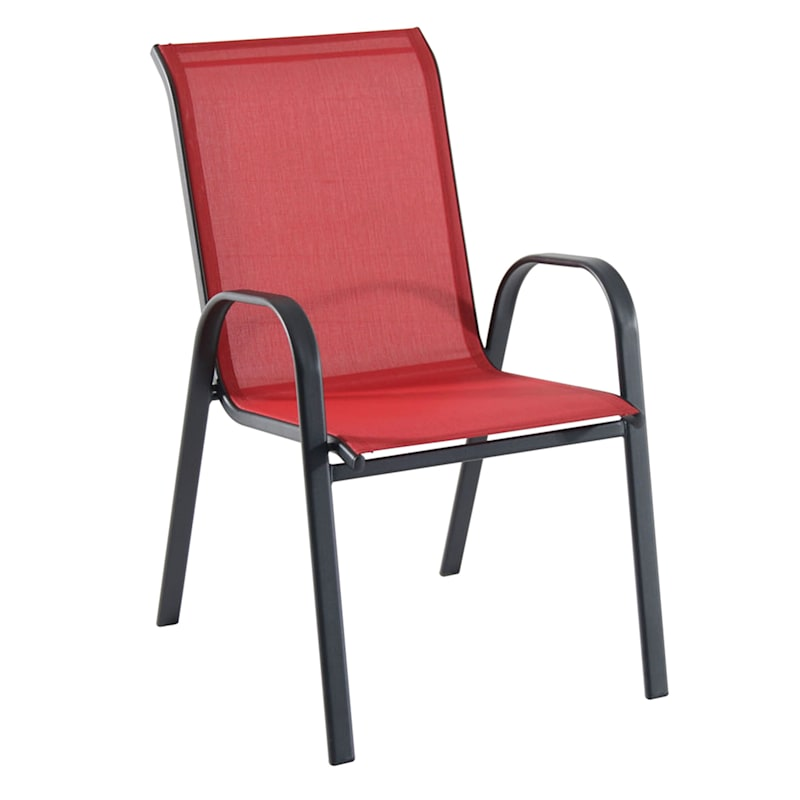 Red Outdoor Steel Sling Stacking Chair, Red Outdoor Furniture