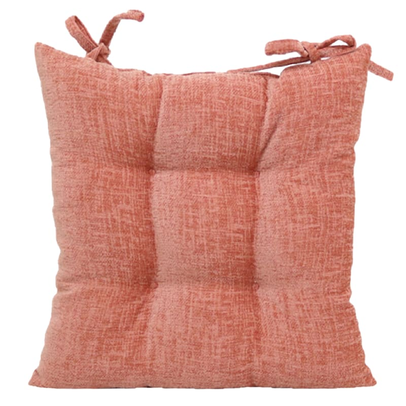 Mabel Chenille Square Chair Pad/4 Circle Tacks/Ties Terra Cotta