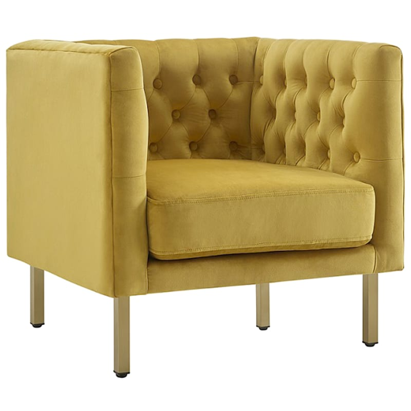 Bendell Yellow Velvet Tufted Accent Club Chair with Gold Legs