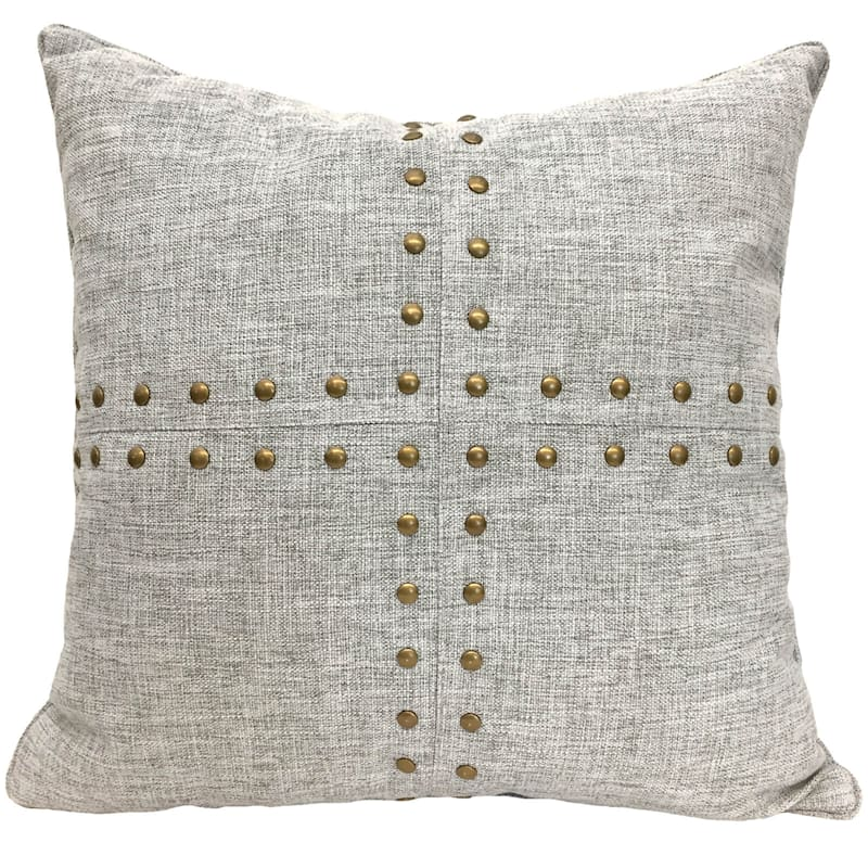 Grey Squares Nailhead Pillow 18X18