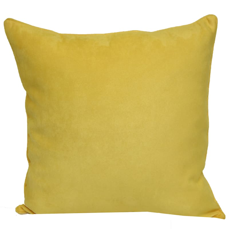 Yellow Heavy Faux Suede Pillow 18X18