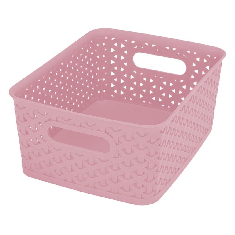 10X8X4 Pe Weave Basket Blush