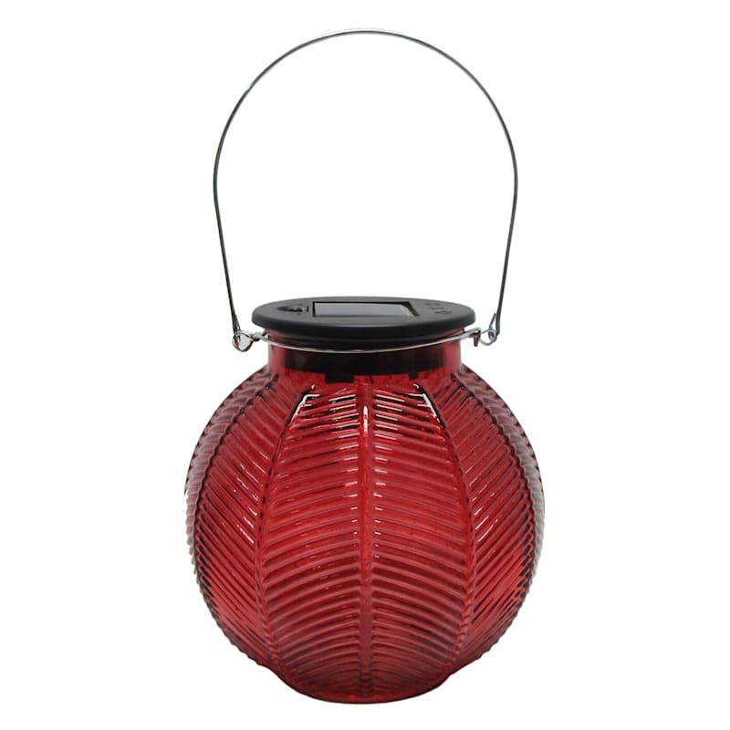 Glass Round Red Lantern/Solar Powered Led String Lights