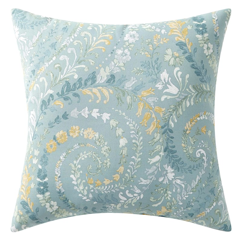 """Floral Paisley Outdoor Square Pillow, 20"""""""