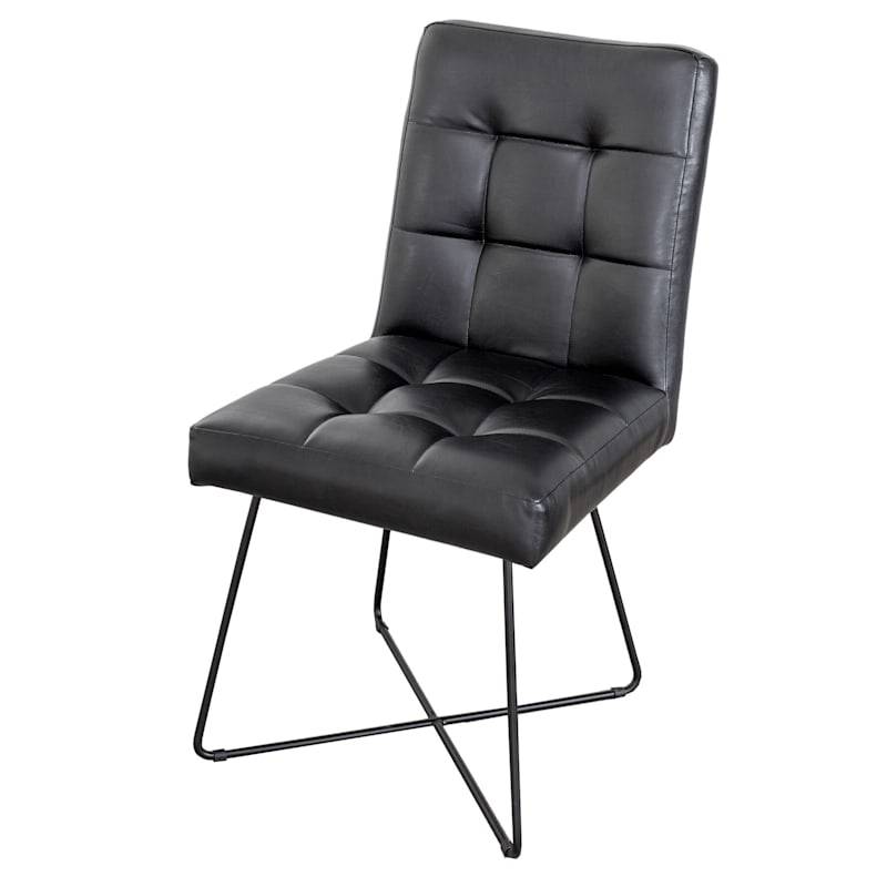 Durham Upholstered Black Dining Chair with Metal Legs