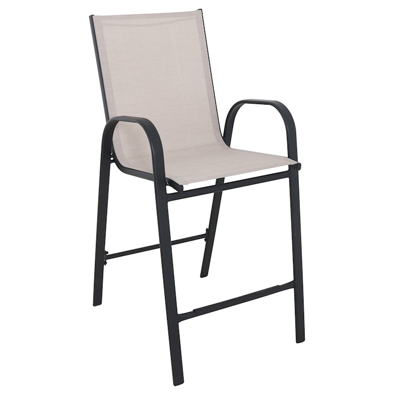 Taupe Outdoor Steel Sling Barstool