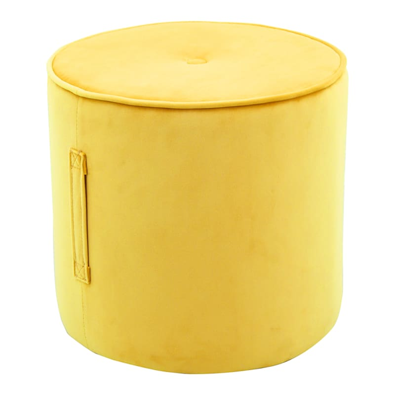 Yellow Button Tufted Ottoman