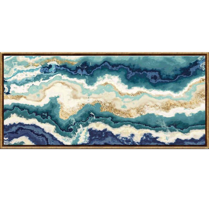54X24 Teal/Indigo Agate Framed Canvas Wall Art