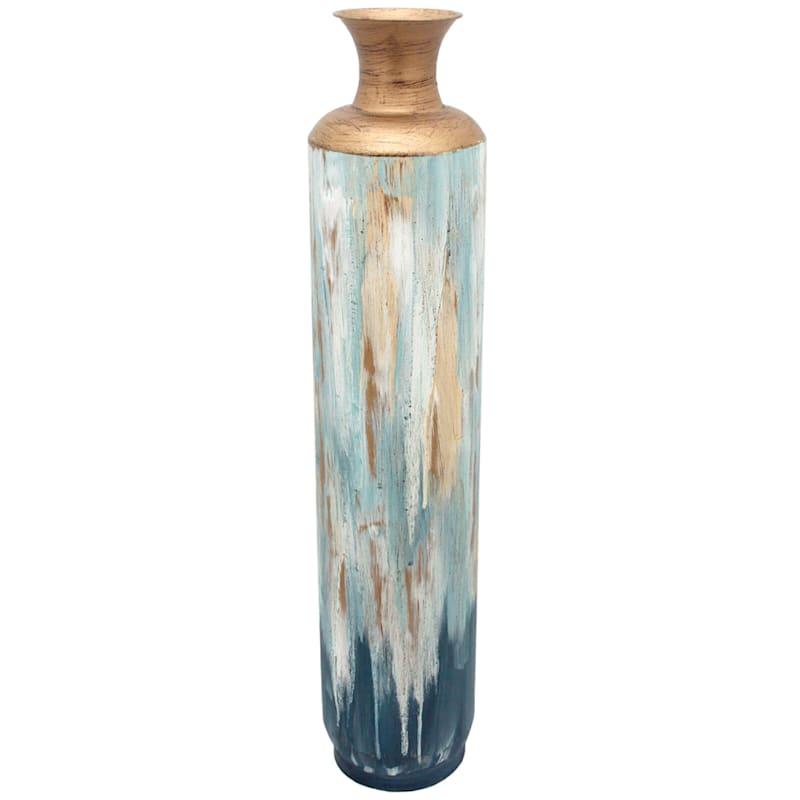 """Metal Blue Gold Vase, 36"""""""