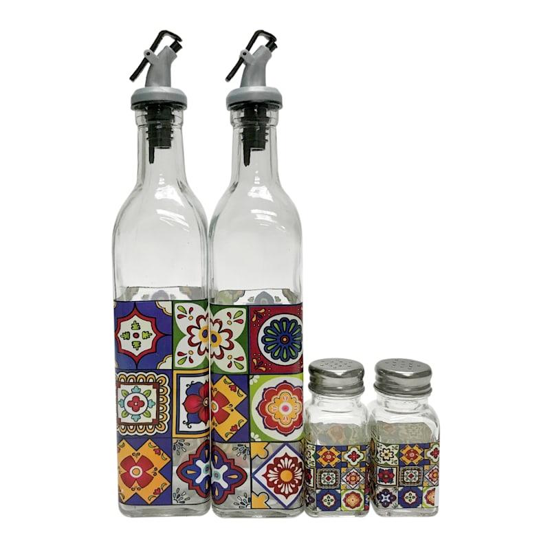 Set Of 4 Talavera Salt/Pepper/Oil/Vinegar/Decal Design