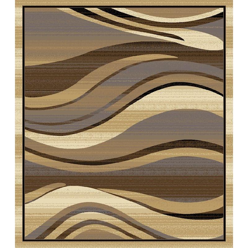 (B134) Superior Wavy Lines Cream & Tan Area Rug, 7x10