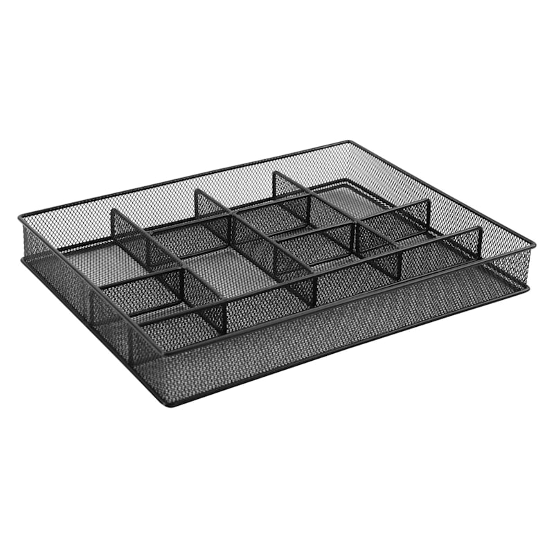 Metal 10 Compartment Drawer Organizer Black