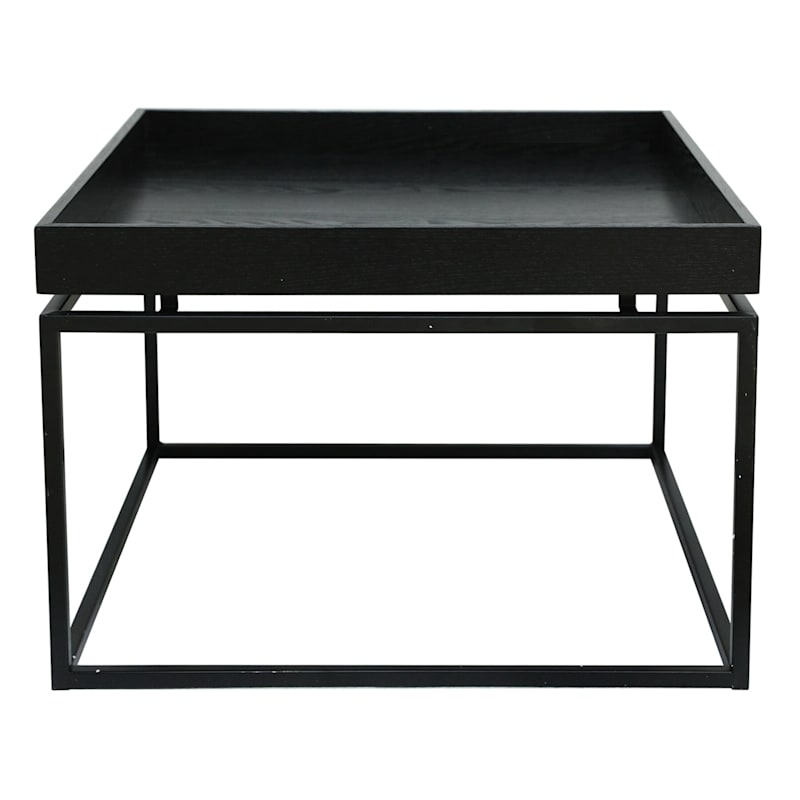 Wood Tray Top Coffee Table With Metal Base Black, Large
