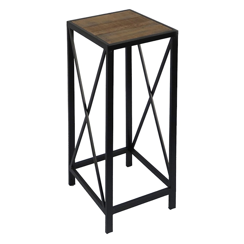 Wood Top X Side Plant Stand With Metal Base, Small