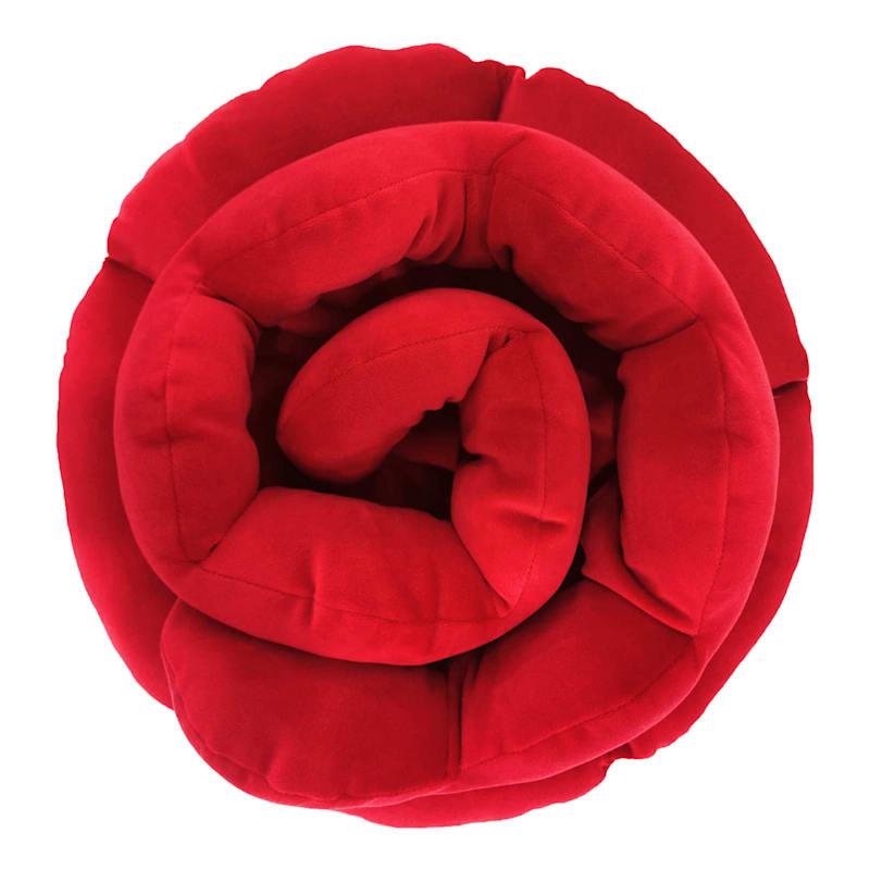 """Plush Red Rose Throw Pillow, 12"""""""