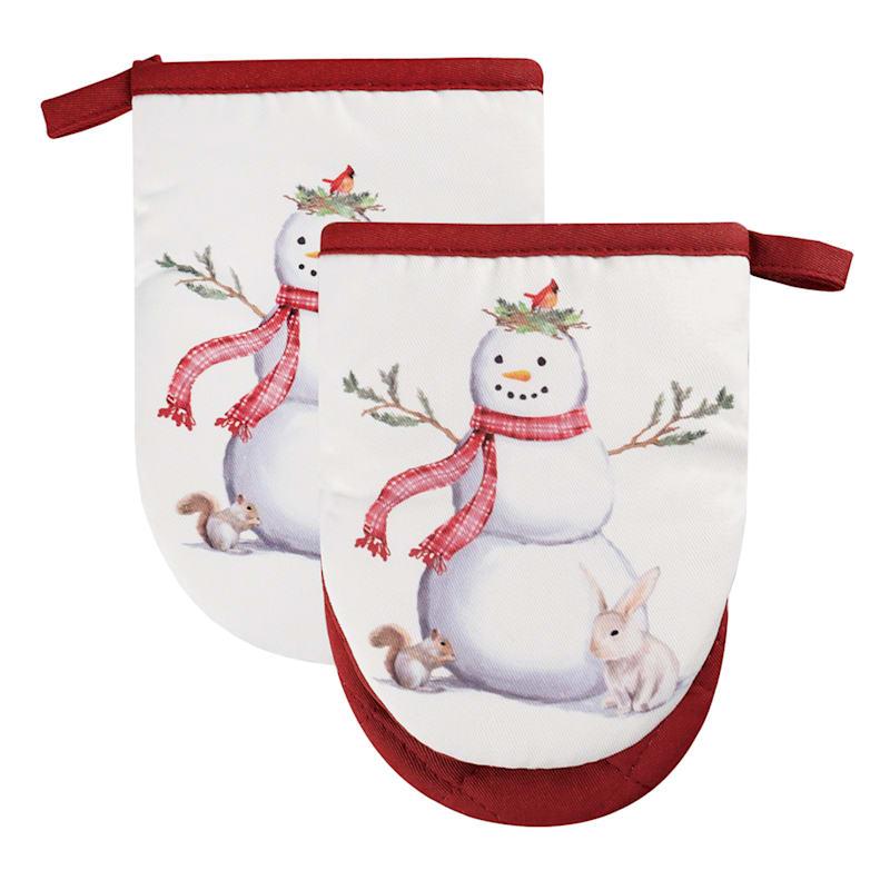 Snowman Double Mitt Pot Holders