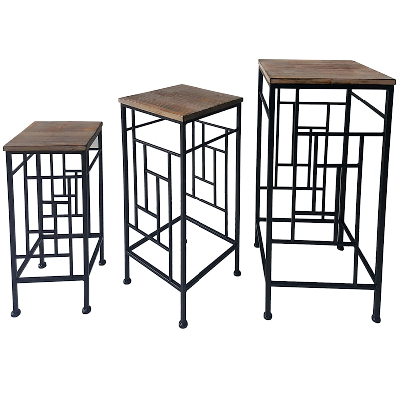 Wood Top Plant Stand With Metal Frame, Medium