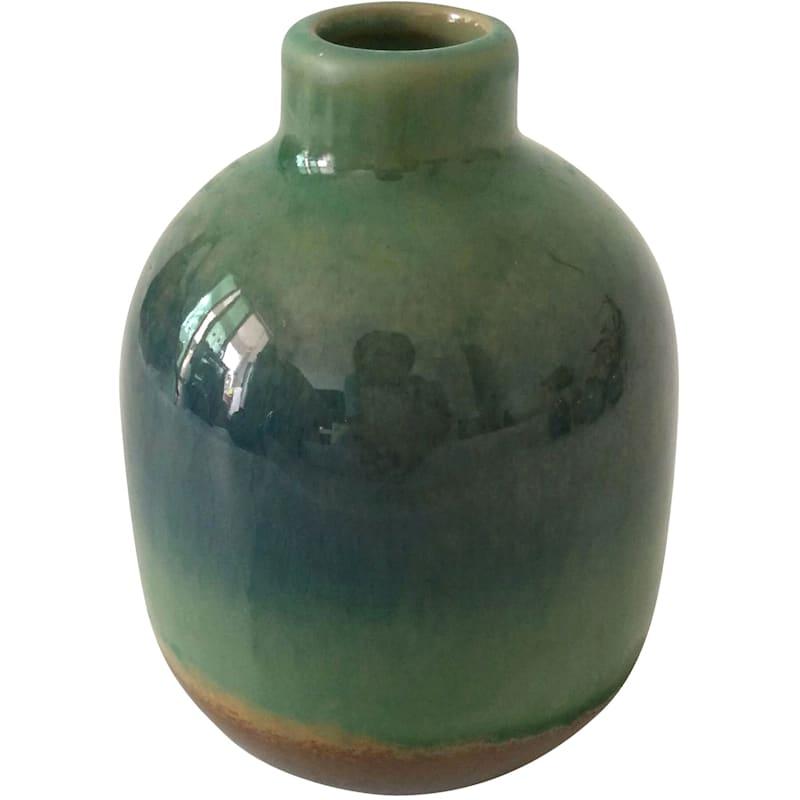 4in. Ceramic Aqua Green Glaze Vase