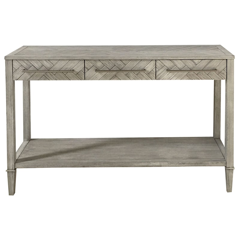 48in. Kate 3 Drawer 1 Shelf Parquet Wood Console Table