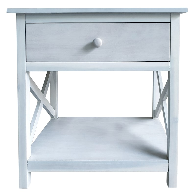 One Drawer X-Side Table White