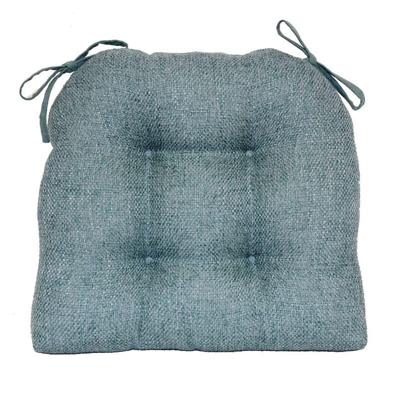 Jasper Textured Chair Pad/4 Tacks/Ties Blue
