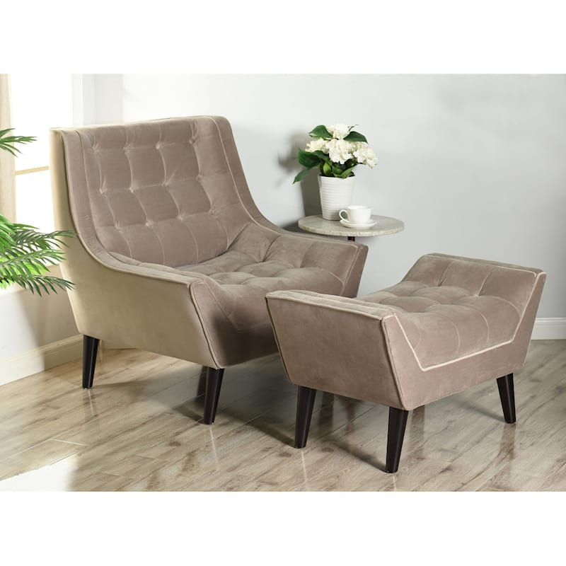 Mays Grey Velvet Tufted Accent Chair