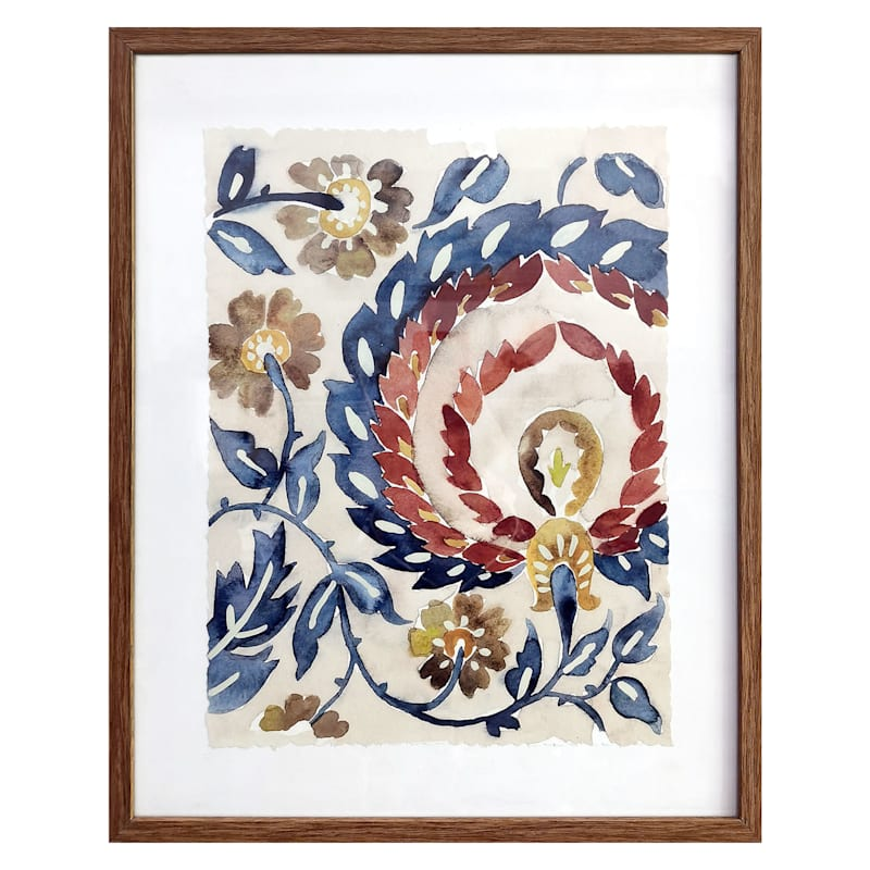 "Glass Framed Paisley Print, 16""x20"""