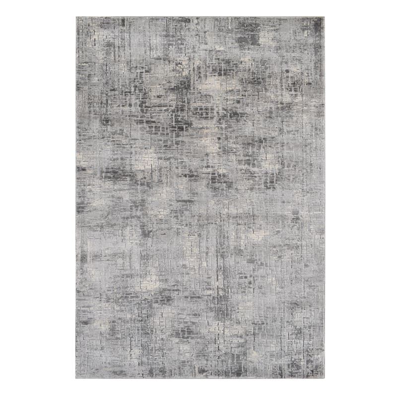 (B656) Mixed Dark Grey Colors Abstract Soft High/Low Design Rug, 5x7