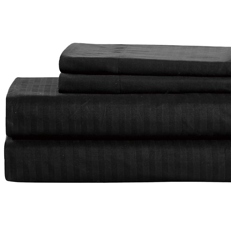 Black Microfiber 3-Piece Sheet Set Twin