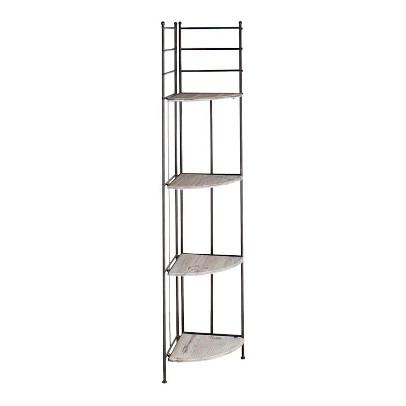 63in. Metal Corner Rack With Folding Wood Top Shelves