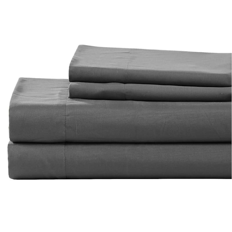 Grey Microfiber 4-Piece Sheet Set Queen