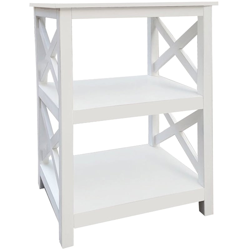 Three Tier X-Side Table White