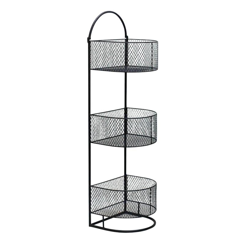 Black 3 Tier Round Storage Basket, Large