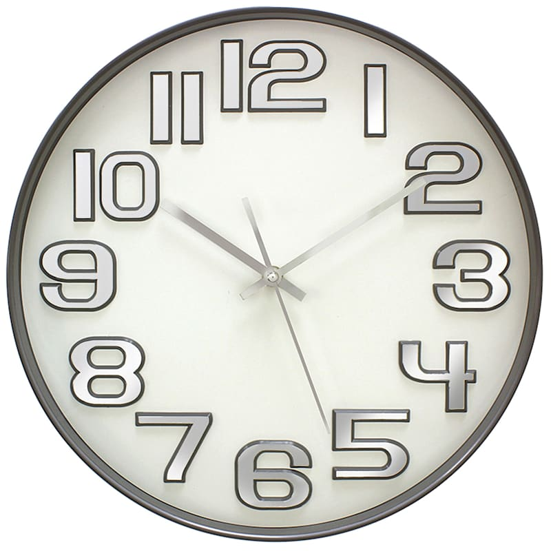 14in. Grey Round Wall Clock With Chrome Numbers