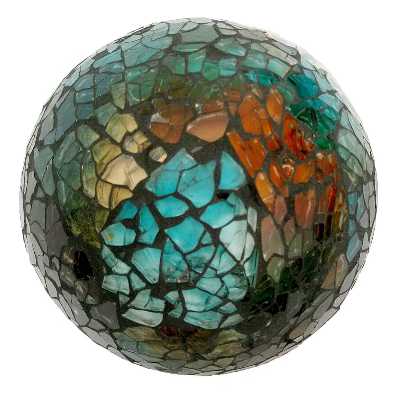 4in. Amber Brown Crackle Mosaic Glass Sphere