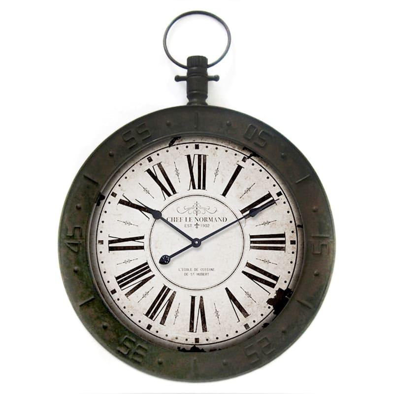 24X34 Metal Wood Distressed Finish Compass Wall Clock