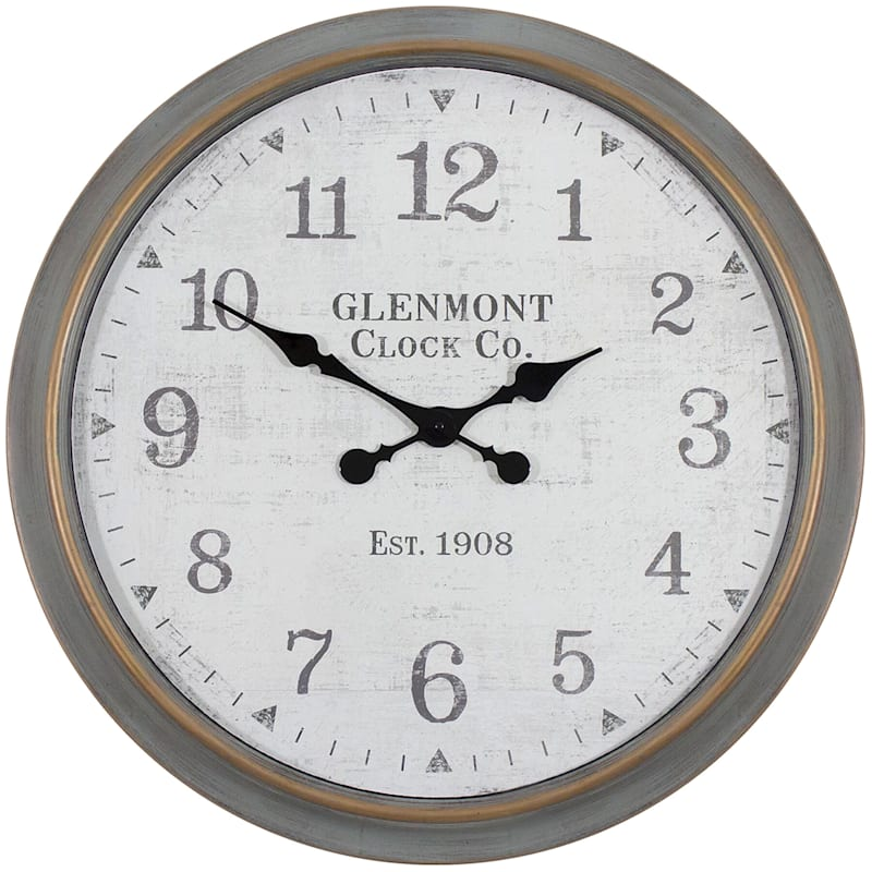 30X30 Distressed Grey Clock With Arabic Numbers