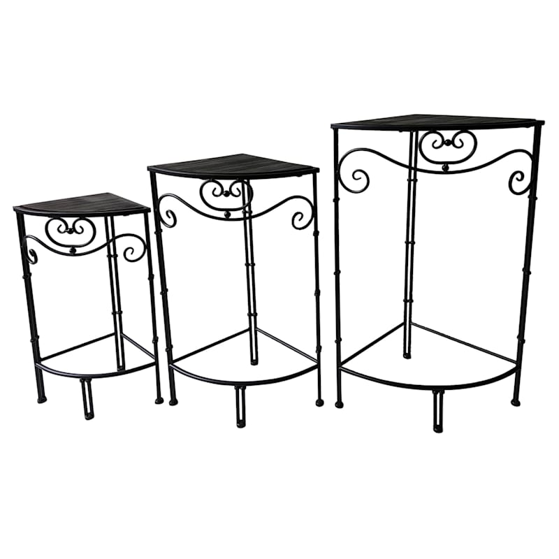 Fan Shaped Wood Top Plant Stand With Black Double Tube Metal Leg, Medium