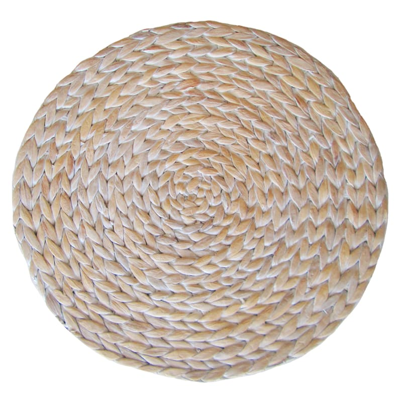 Water Hyacinth White Washed Natural Round Placemat