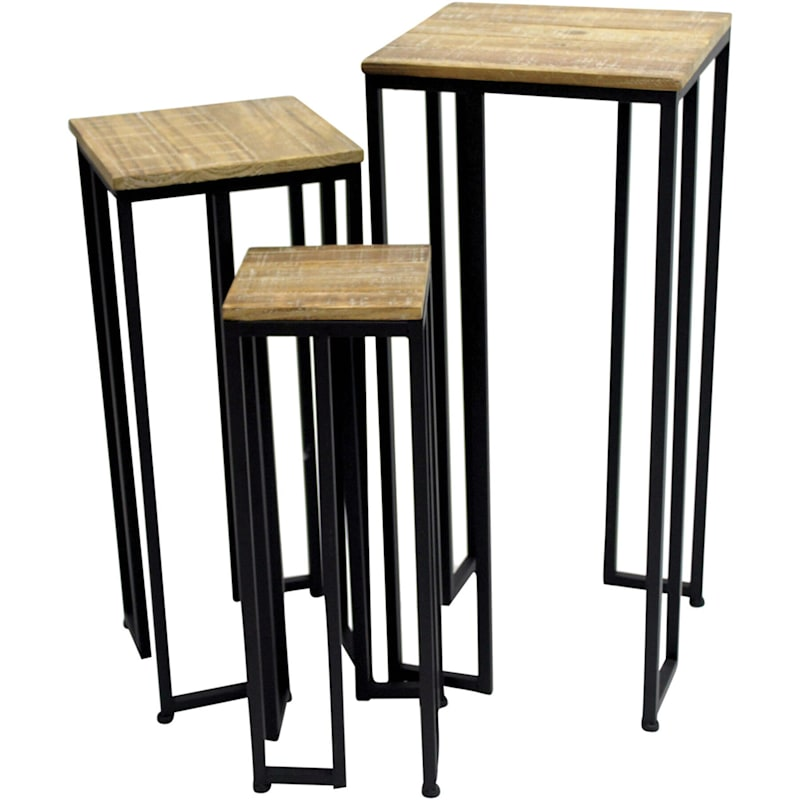 Square Wood Top Plant Stand With Black Metal Base, Small