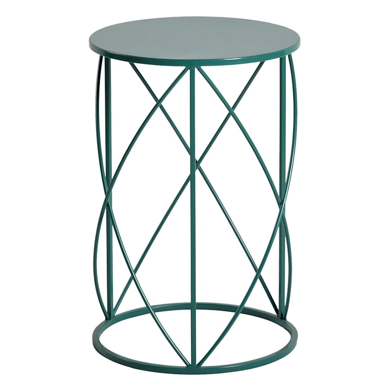 Metal Drum Accent Table Blue, Large