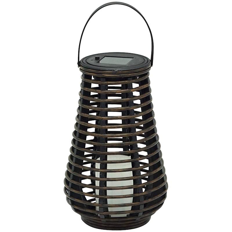 6X10in. Black Faux Rattan Solar Lantern
