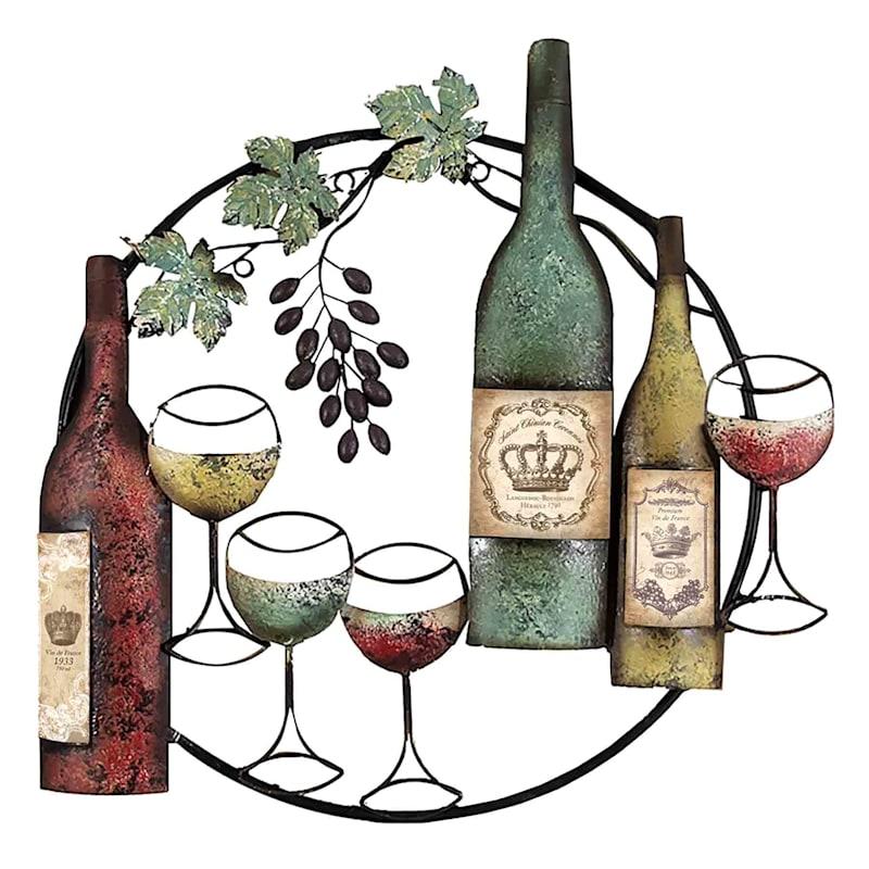 25X26 Wine Bottle Round Metal Wall Decor