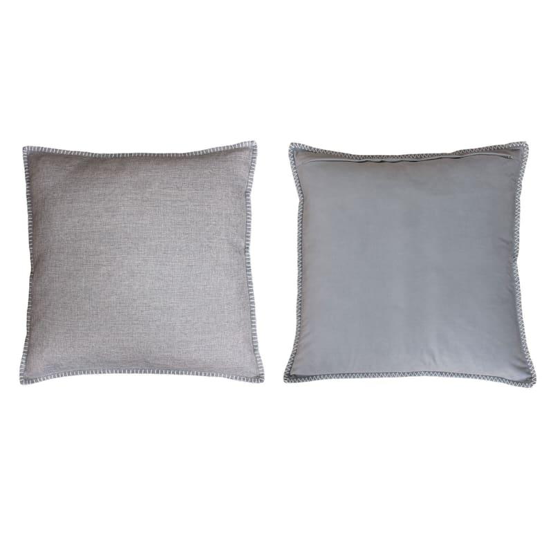 Charleston Silver Reversible Linen Pillow 22in.