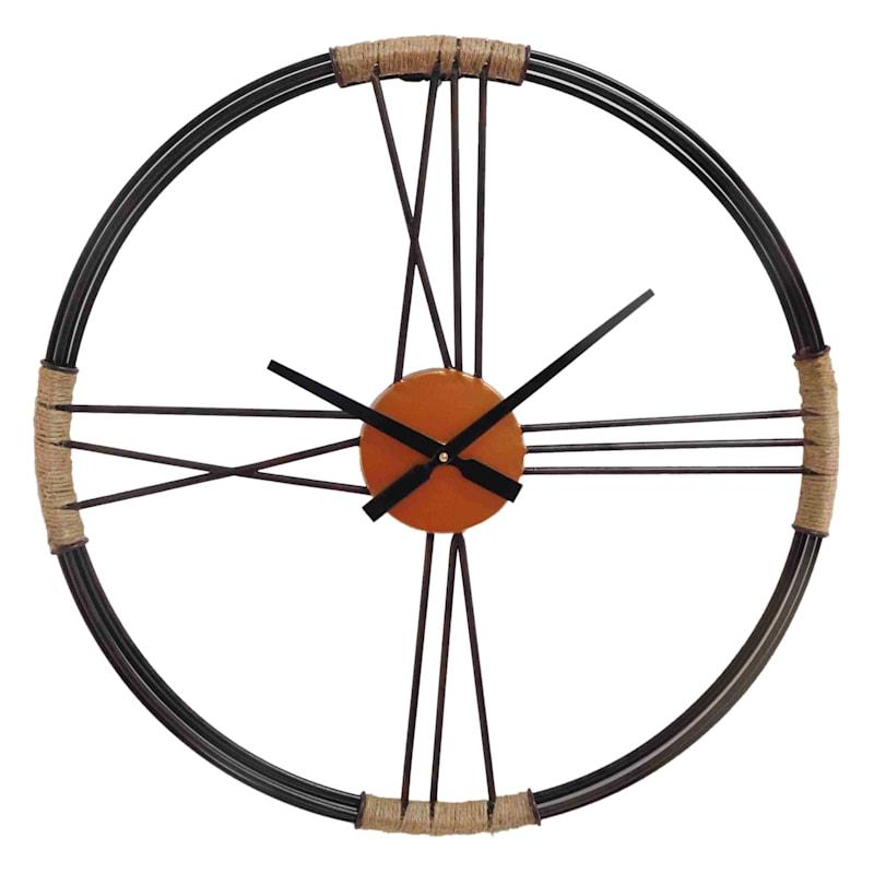 24in Metal/Twine Wall Clock