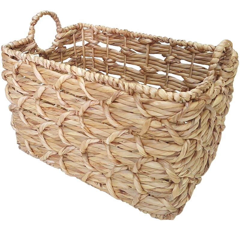 White Rectangle Basket Weave Round Handle M
