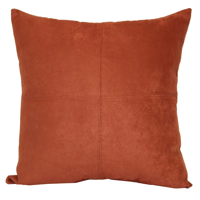 Baked Clay Heavy Faux Suede Oversized Pillow 24X24