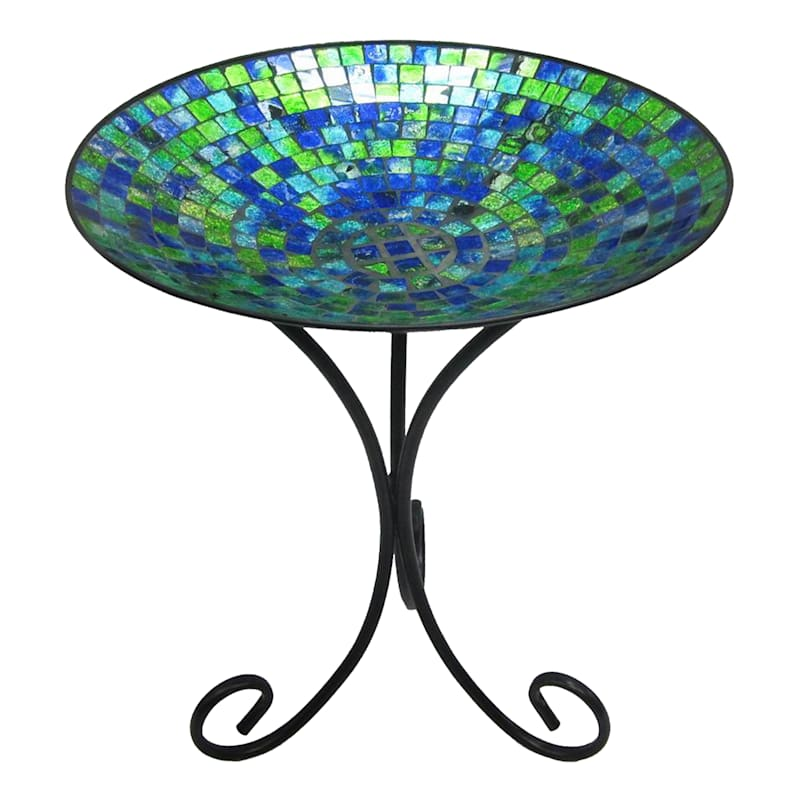 Mosaic Tile Glass Birdbath/Folding Metal Stand